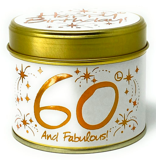 Lilly flame – Happy Birthday 60th Scented Candle Tin