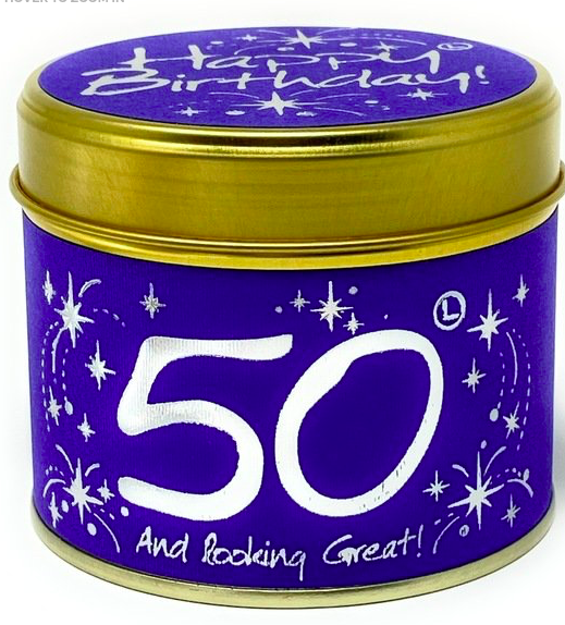 Lily-flame – Happy Birthday 50th Scented Candle Tin