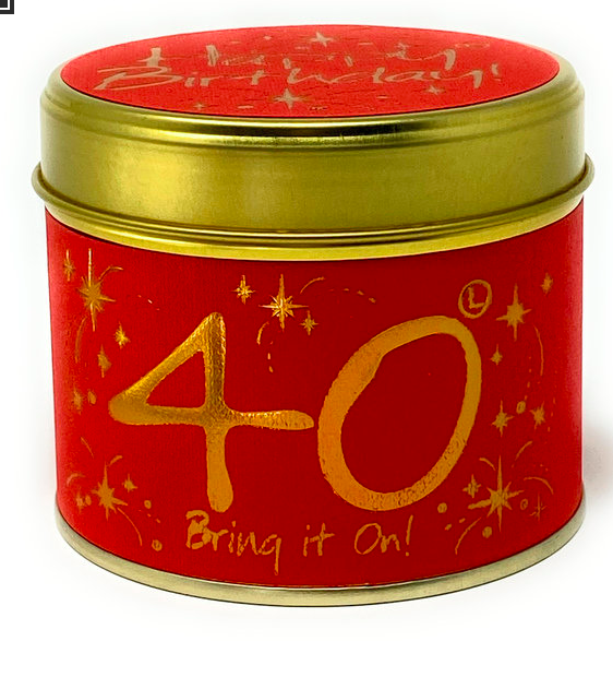 Lily flame – Happy Birthday 40th Scented Candle Tin