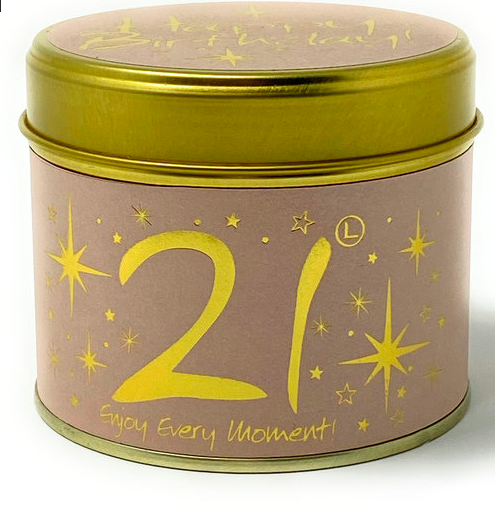 Lily-flame – Happy Birthday 21st Scented Candle Tin